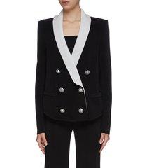 contrast shawl collar knit double breast blazer