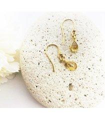 złote kolczyki z cytrynem, citrine earrings