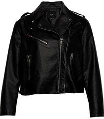 biker jacket plus zipper pockets leren jack leren jas zwart zizzi