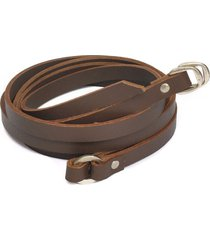 cinturon de mujer chocolate 2 giri small leather colection vestopazzo