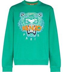 kenzo classic tiger logo sweatshirt - green