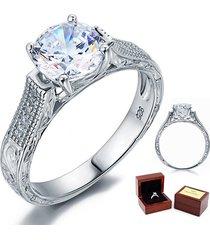 2 carat round diamond vintage sterling 925 silver bridal wedding engagement ring