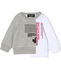 dsquared2 grey and white cotton sweatshirt
