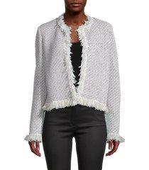 st. john women's cropped wool-blend jacket - ecru - size 14