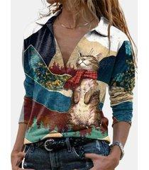 camicetta casual manica lunga patchwork stampa gatto per donna