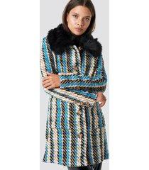 glamorous fluffy collar coat - multicolor