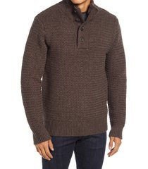 schott nyc military henley sweater, size small in coffee at nordstrom