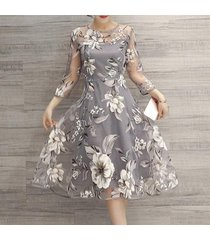 popular women o neck lace double layer flower prom party beach dress