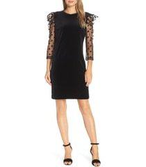 julia jordan dot mesh sleeve velvet shift dress, size 6 in black at nordstrom