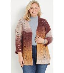 maurices plus size womens spacedye wave stitch cardigan