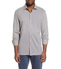men's bugatchi regular fit knit button-down shirt