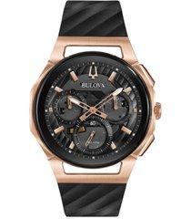 bulova men's chronograph curv black rubber strap watch 44mm