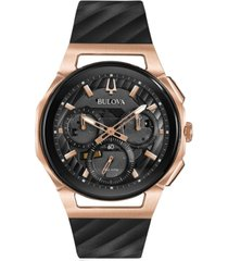 bulova men's chronograph curv black rubber strap watch 44mm