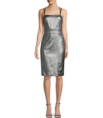 faux leather sheath dress