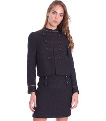 boucle 'fabric jacket with lurex