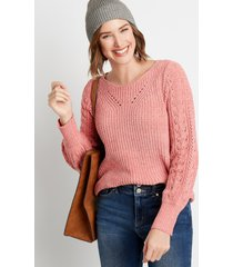 maurices womens chenile pointelle sleeve pullover sweater pink