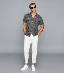 reiss rocky - chain print cuban collar shirt in navy, mens, size xxl