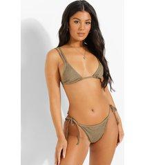 mix & match gekreukelde bikini top met dubbele bandjes, light khaki