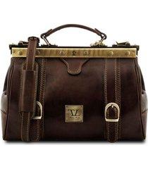 tuscany leather tl10034 monalisa - borsa medico in pelle con fibbie frontali testa di moro