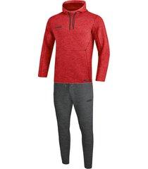 jako joggingpak met sweaterkap premium basics m9629-01 rood