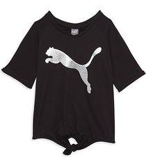 girl's tie-front big cat pack t-shirt