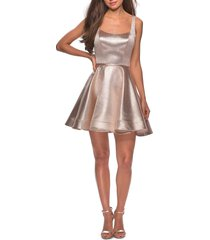women's la femme metallic fit & flare cocktail dress, size 2 - pink