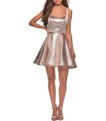 women's la femme metallic fit & flare cocktail dress