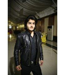 handmade men black leather jacket, men fashion biker leather jackets