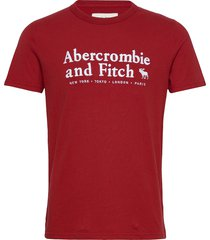 anf mens graphics t-shirts short-sleeved röd abercrombie & fitch