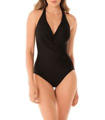 women's miraclesuit rock solid wrap front one-piece swimsuit, size 14 - black