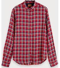 scotch & soda lichtgewicht geruit overhemd | regular fit