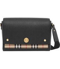 burberry note leather & vintage check crossbody bag - black