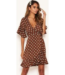 ax paris women's polka dot wrap frill dress