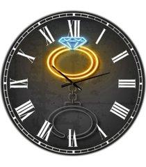 "designart diamond ring large modern wall clock - 23"" x 23"" x 1"""