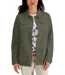 karen scott solid button-front twill jacket, created for macy's