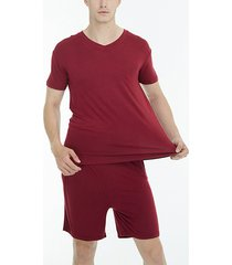 incerun traje de pijama informal de manga corta con cuello en v para hombre