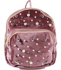mochila terciopelo perlas rosado mailea