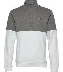 split funnel neck sweat-shirt trui grijs lyle & scott