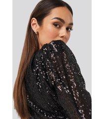 trendyol mini draped sequin dress - black