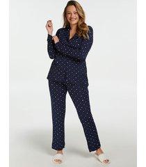 hunkemöller hellångt pyjamasset blå