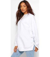 zwangerschap borstvoeding sweater met zijstrikjes, wit