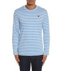 men's comme des garcons play long sleeve stripe crewneck t-shirt, size small - blue