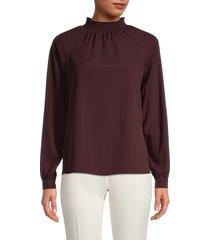 t tahari women's mockneck blouse - merlot grape - size l