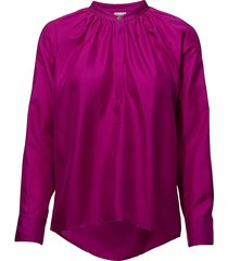 gathered silk blouse blus långärmad rosa filippa k