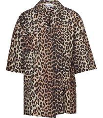 printed cotton poplin overhemd met korte mouwen bruin ganni