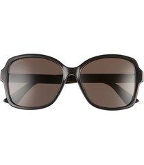 women's gucci 57mm rectangular sunglasses - black/ grey