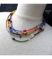 boho styl. bajecznie kolorowy naszyjnik handmade