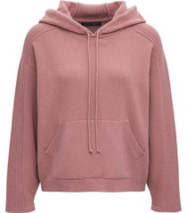 alberta ferretti pink wool and cotton hoodie