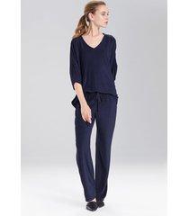 terry lounge top pajamas, women's, blue, size xs, n natori