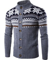 christmas geometric snowflake pattern knitted cardigan